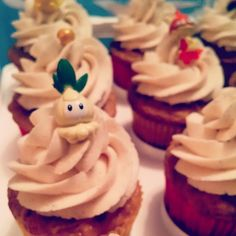 Apple Cinnamon Cupcakes w/ Cinnamon/Honey Buttercream - Pokemon Birthday