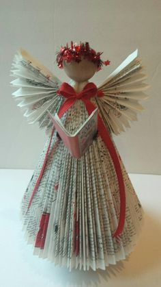 Custom Repurposed Book Angel Delivered from a book by the customer country librarian teacher reuse recycling repurposed books Book Christmas Tree, Paper Christmas Ornaments, Christmas Tree Crafts, Christmas Angels, Christmas Projects, Holiday Crafts, July Crafts, Origami Christmas, Gnome Ornaments