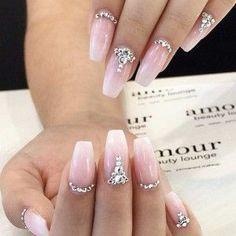 Sparkly Rhinestone Wedding Nails