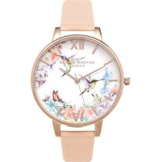 OLIVIA BURTON OB15PP12 Hummingbird rose gold-plated watch ($105) ❤ liked on Polyvore featuring jewelry, watches, olivia burton watches, olivia burton, dial watches, leather-strap watches and floral watches