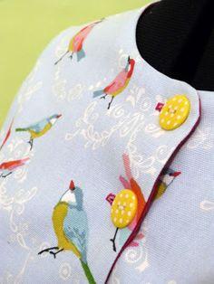 Veste vintage, réalisations sur mesure. #julietdefil #mode #femme #surmesure #oiseaux #pois