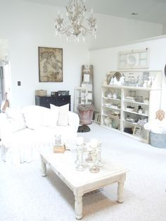 shabby white living