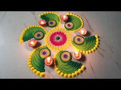 Navratri Dussehra Durga Puja Laxmi Pooja Diwali Easy and attractive Rangoli Design by Sangeeta. Easy Rangoli Designs Videos, Easy Rangoli Designs Diwali, Rangoli Simple, Indian Rangoli Designs, Rangoli Designs Latest, Simple Rangoli Designs Images, Rangoli Designs Flower, Rangoli Patterns, Free Hand Rangoli Design