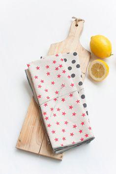 As seen on Martha Stewart.com, Star and Polka Dot Tea Towels, Set of Two, Hand Printed