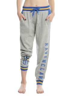 Harry Potter Ravenclaw Girls Jogger Pants: Get comfy and cozy for your next Harry Potter marathon in these boyfriend jogger pants featuring the Ravenclaw crest and colors. Ravenclaw, Harry Potter Marathon, Harry Potter Hogwarts, Harry Potter Merchandise, Harry Potter Outfits, Jogger Pants Outfit, Girls Joggers, Lazy Day Outfits, Casual Cosplay