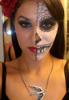 dia de los muertos half makeup - Google Search