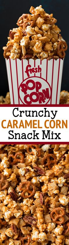 Caramel Corn Snack Mix – This addictive snack is perfect for parties or gifting! It's easy to make and always a crowd favorite! No one can resist this sweet and salty, crunchy, caramel snack blend. via Jaclyn {Cooking Classy} Köstliche Desserts, Delicious Desserts, Dessert Recipes, Yummy Food, Snack Mix Recipes, Popcorn Recipes, Snack Mixes, Popcorn Snacks, Cereal Recipes