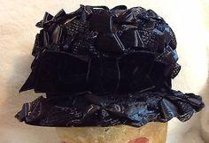 Vintage Black Ribbon Hat Vicki Jo Original