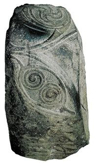 """✯ The Mullamast Stone, from 500-600 in Ireland. There are 4 blade marks on the left side of the stone and 2 deep ones on top, suggesting that the stone was used as part of a """"sword in the stone"""" kingship ritual. The perpetuation of the importance of the """"sword in the stone,"""" which comes from Arthurian legend, demonstrates the continuity of Celtic rituals even after the arrival of Christianity in Ireland.✯"""