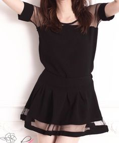 $8.41 Perspective Splicing Black Casual Scoop Collar Short Sleeve T-Shirt and Divided Skirt Women's Suits