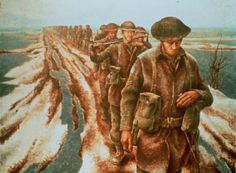"""Alex Colville's """"Canadian Infantry Near Nijmegen, Holland."""" Colville began his career as a military artist."""