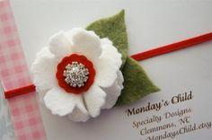 Valentines Day Felt Flower Headband Newborn Headband Baby