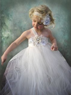 Ivory+Tulle+Flower+Girl+Dress | Flower Girl Dress Ivory Tulle Wedding Dress for Little Girl size ...