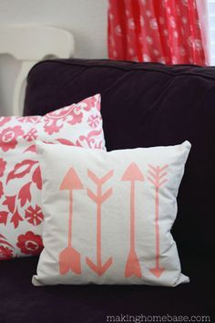 DIY Stenciled Arrow Pillow. This is a very cool cushion you can make yourself using a stencil. Once you know how to do it you can do whatever design you like!