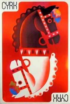 Tomasz Rumiński 'Cyrk - Konie/Circus - Horses' - Polish Poster, 1973