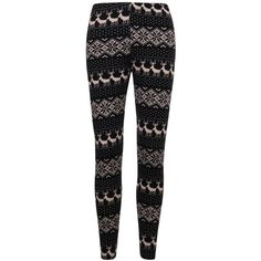 ililily Nordic Snowflakes Fair Isle Soft-touch Knit Blend Winter... ($16) ❤ liked on Polyvore featuring pants, leggings, snowflake leggings, snowflake print leggings, fair isle knit leggings, snowflake pattern leggings and black knit pants