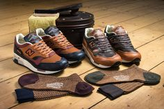 """New Balance Introduces Luxe """"M1500 Gentleman's Choice"""" Sneakers. http://www.selectism.com/2014/11/24/new-balance-m1500-gentlemans-pack/"""