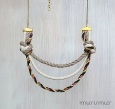 Statement eco friendly rope necklace. Nautical by missismiss...This nautical necklace is so fresh! It is made of twisted not colored 100% flax (linen) rope, 100% cotton rope in natural and black with mixed colors.With gold color chain and elements. Natural material is always on fashion!
