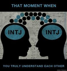 OMG- Yes! I'm always on the same wavelength with other INTJ's! Such a rare moment! My best friend is an INTJ too, so I understand you.