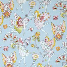 Fabric... Everyday Eden Flower Fairies on blue by Alexander Henry Fabrics