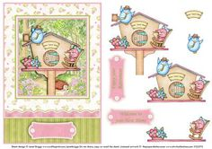 NEW HOME THE BIRD HOUSE decoupage on Craftsuprint designed by Janet Briggs - Sweet topper and step by step decoupage, featuring a cute bird couple and their home. Suitable for a New Home or Retirement card. 2 additional sentiment tags, read Enjoy your retirement and Welcome to you new home. - Now available for download!