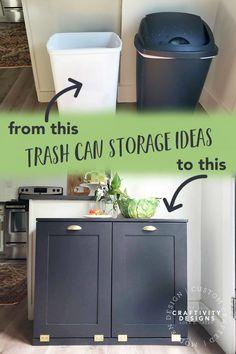 Hidden Trash Can Kitchen, Kitchen Garbage Can Storage, Kitchen Trash Cans, Kitchen Storage, Kitchen Organization, Kitchen Bins, Organization Ideas, Recycling Bin Storage, Storage Bins