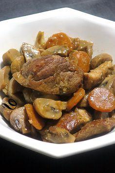 filets mignons de porc en cocotte dans plats principaux, viandes, légumes et & Filet Migon De Porc, Pot Roast, Menu, Gluten Free, Ethnic Recipes, Pan Dulce, Lactose, Filets, Chorizo
