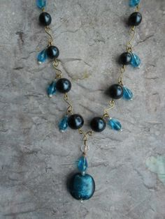 Homemade necklace ladies / blue Crystals by JHFWBeadsAndFindings at #Etsy