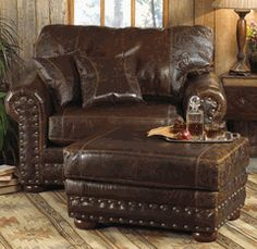Take advantage of savings as much as on fantastic Western furniture at Lone Star Western Decor, such as this Outlaw Dejavu Holster Oversized Chair! Reclaimed Furniture, Cabin Furniture, Western Furniture, Leather Furniture, Furniture Decor, Furniture Design, Cowhide Furniture, Furniture Online, Furniture Sale