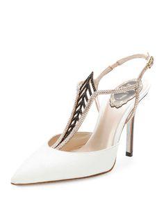 RENÉ CAOVILLA Jewel-Embellished Snakeskin Point-Toe Pump, White. #renécaovilla #shoes #pumps