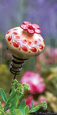 Wild Birds > Bird Feeders > Hummingbird Feeders > Ceramic      	  Parasol Folklore Mini-Blossom Feeder with Stake, Red, 4 oz.