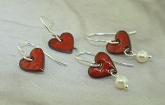Heart Earrings  glass enamel on copper by by KathrynRiechert, $20.00