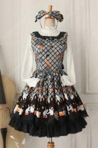 Vintage Ruffles Halloween Ghost Print Lolita Vest Dresses