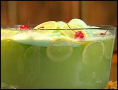 2 quarts (1/2 gallon) lime sherbet      2 liters ginger ale (chilled)      1 (46-ounce) can pineapple juice (chilled)      Lemon slices      Lime slices    Directions:  Spoon or scoop sherbet into a large punch bowl.  Add chilled pineapple juice and ginger ale. Stir until sherbet is partially melted. Decorate with lemon and lime slices. Serve immediately.