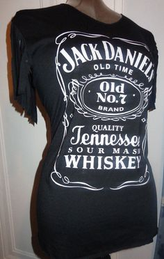 ae7cf627 Jack Daniels Tennesee Whiskey Ladies DIY weaved back fringed sleeve great  shirt for concerts, summer bar-tending super sexy soft and light.