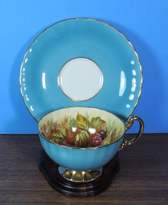 Aynsley England Blue Orchard Fruit Porcelain Gold Trim Tea Cup And Saucer #Aynsley