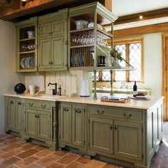 distressed kitchen cabinets on sage green kitchen cabinets design hennyskitchen - Green Kitchen Cabinets
