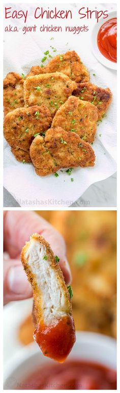You can serve these easy chicken strips so many ways!! Serve chicken tenders as an appetizer, with mashed potatoes for dinner or as chicken sandwich patties | natashaskitchen.com