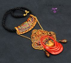 Russian kokoshnic mask necklace-Polymer clay by claycessories