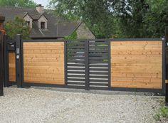 Fence Gate Design, Modern Fence Design, Steel Gate Design, Front Gate Design, House Gate Design, Gate House, Home Room Design, Door Design, Front Gates