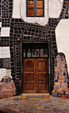 Hundertwasser haus by Ninon Jouandoudet on Home Architecture Styles, Amazing Architecture, Architecture Details, Lego Architecture, Cool Doors, Unique Doors, Entrance Doors, Doorway, Door Knockers