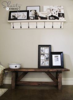 15 DIY Entryway Bench Projects • Tons of Ideas and Tutorials! Including, from 'shanty 2 chic', this wonderful entryway bench costing only $15 to make.