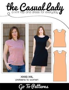 the Casual Lady dress and top PDF sewing e-pattern for women and teens on Etsy, $12.00