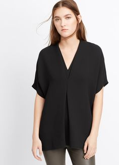 Short Sleeve Crepe Double V-Neck Blouse