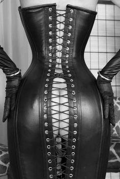Open back leather corset dress