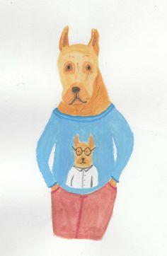 "@Behance projeme göz atın: ""gouache"" https://www.behance.net/gallery/45953725/gouache  gouache painting dog illustration"