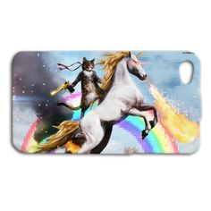 Cat with Gun Riding Unicorn Cute Funny Custom Case for iPhone 5/5s and iPhone 4/4s on Etsy, $16.99