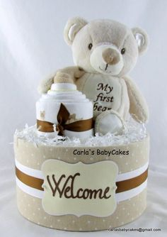 Bear diaper cake Neutral diaper cake Baby shower decoration