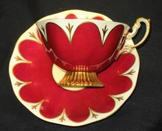 ROYAL ALBERT VERY WIDE GRAND GOLD TEA CUP AND SAUCER