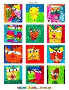 Crazy Cats  Medium: Oil Pastels  www.square1art.com Kindergarten Art Projects, Classroom Art Projects, School Art Projects, Art Classroom, First Grade Art, First Art, Square One Art, Animal Art Projects, Art Activities For Kids